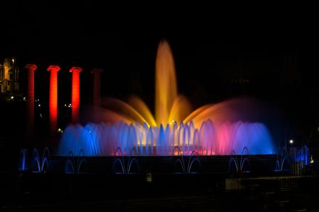 montjuic: The famous Montjuic Fountain in Barcelona, Spain Editorial