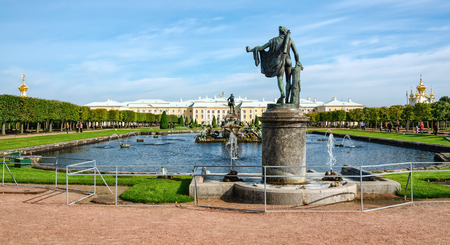 petergof: Petergof, St Petersburg, Russia - September 1, 2012:  General view of  Upper park with fountains and Grand Palace Editorial