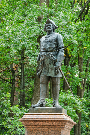 peter the great: Petergof, St Petersburg, Russia - September 1, 2012: Monument of Peter I The Great in Petergof Lower garden as seen on 1st of September, 2012