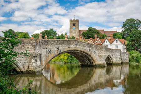 View of Aylesford village in Kent, England with medieval bridge and church. Stock Photo