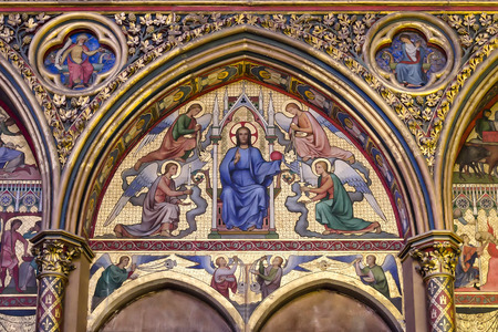 french culture: Christ in Judgment mosaic inside Sainte Chapelle in Paris, France