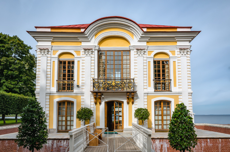 petergof: Petergof, St Petersburg, Russia - September 1, 2012: Front view of pavilion Hermitage in Petergof Lower garden. Designed by architect Johann Braunstein, the pavilion was built in 1721-1725. Editorial