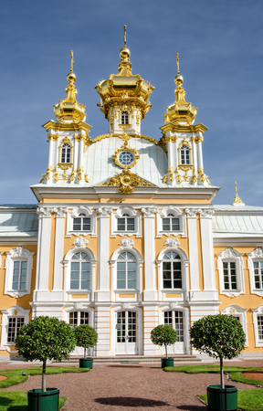 petergof: Petergof, St Petersburg, Russia - September 1, 2012: Front view of Grand petergof palace church. Only the religious building created by architect Rastrelli.