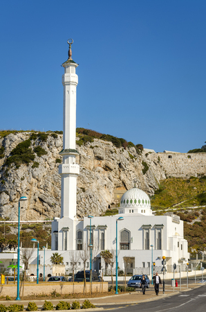 custodian: Gibraltar - March 18, 2012: View of the Ibrahim-al-Ibrahim Mosque, also known as the King Fahd bin Abdulaziz al-Saud Mosque or the Mosque of the Custodian of the Two Holy Mosques, is a mosque located at Europa Point in the British overseas territory of Gi