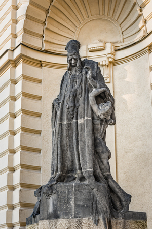 rabbi: Prague, Czech Republic - May 25, 2016: Statue of rabbi Judah Loew Ben Bezalel (The Maharal Of Prague), situated by New Town Hall.