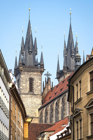 czech culture: East view from old town street to Church of Mother of God (Our Lady) before Tyn. Editorial