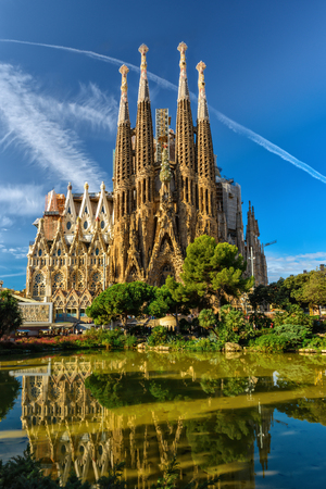 Cathedral Sagrada Familia. It is designed by architect Antonio Gaudi and is being build since 1882.