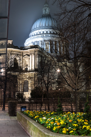 London, United Kingdom - January 4, 2015: View of St Paul cathedral in London at night. Stock Photo