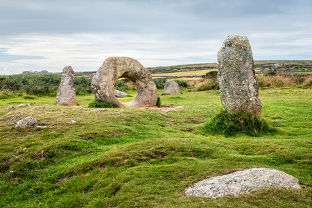 Penwith Moor, United Kingdom - August 10, 2016: View of  Men-an-Toll standing stones near Lands End in West Cornwall