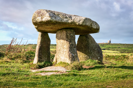 megalith: Lanyon Quoit a neolithic dolmen near Lands End in West Cornwall. Stock Photo
