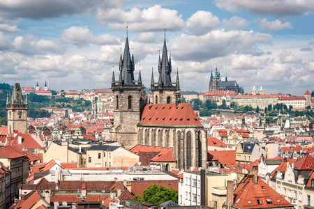 Aerial view to Prague old town with Tyn church and St. Vitus cathedral
