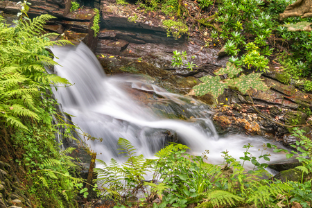 Waterfall in St Nectans Glen valley in North Cornwall