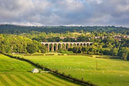Ansicht von Pontcysyllte Aquädukt, der Llangollen-Kanal hoch über dem Fluss Dee trägt. Standard-Bild - 73952813