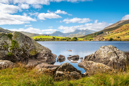 View of Snowdon peak from lake Llynnau Mymbyr in Snowdonia National Park, North Wales Stock Photo
