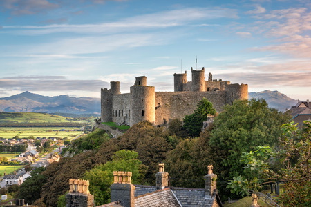 Harlech, Wales, United Kingdom - September 20, 2016: View of Harlech Castle in North Wales at sunrise Editorial