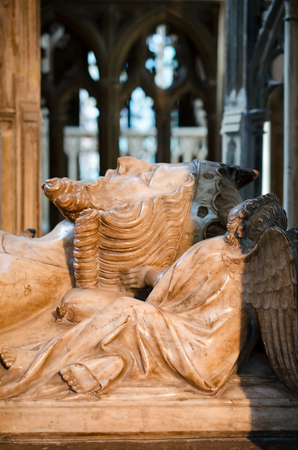 Gloucester, United Kingdom - June 8, 2013: Close-up details view of tomb of King Edward II inside Gloucester Cathedral