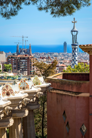 Barcelona, Spain - September 24, 2015: Aerial view to Barcelona from Park Guell