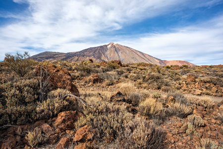 Pico del Teide and pico Viejo seen from the lava field on the East. Stock Photo