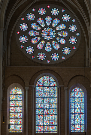 Chartres, France - May 22, 2017:  West rose window inside Chartres Cathedral