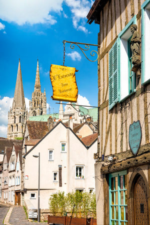 Chratres, France - May 22, 2017: Street view of Chartres old town