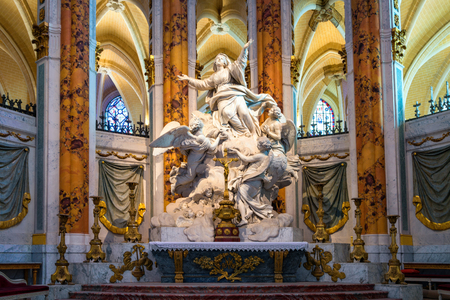 Chartres, France - May 22, 2017: Assumption into heaven of the Blessed Virgin Mary marble altar sculpture group  by Charles-Antoine Bridan in Our Lady Cathedral of Chartres. Editorial