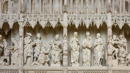Chartres, France - May 22, 2017: Details of Chartres, France - May 22, 2017: Details of ambulatory choir screen with carved stone scenes inside Chartres Cathedral.