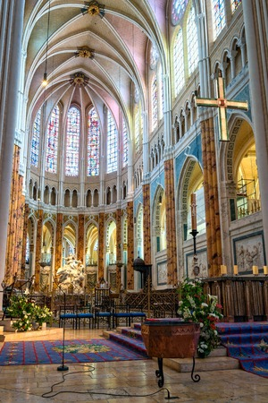 Chartres, France - May 22, 2017: Interior view of the Cathedral of Our Lady of Chartres