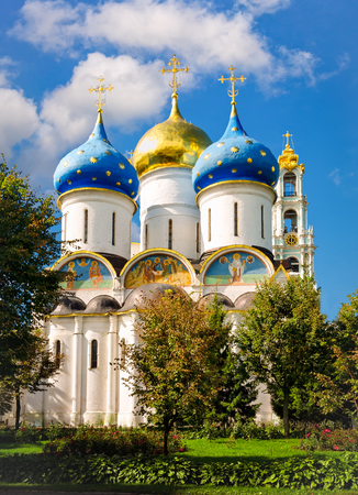 Segiyev Posad, Russia - August 30, 2012: View of Assumption Cathedral and Belltower at Holy Trinity St. Sergius Lavra on a sunny day.