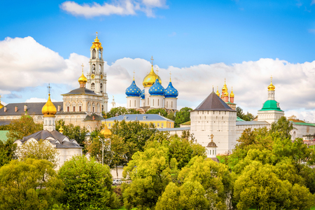 View to  Holy Trinity St. Sergius Lavra from East on a summer cloudy day, Russia.