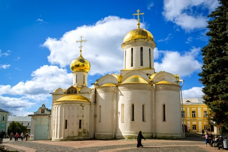Segiyev Posad, Russia - August 30, 2012: Trinity Cathedral at Holy Trinity St. Sergius Lavra. Unidentified people present on picture.