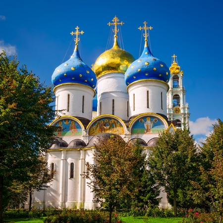 Segiyev Posad, Russia - August 30, 2012: Assumption Cathedral at Holy Trinity St. Sergius Lavra.