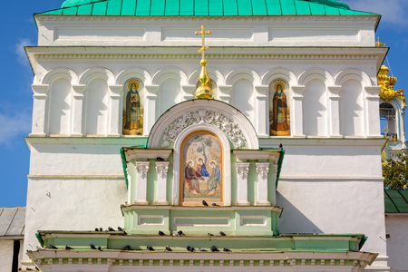 Segiyev Posad, Russia - August 30, 2012: Exterior wall painting at Holy Gates of Holy Trinity St. Sergius Lavra. Editorial