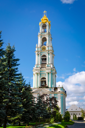 View of bell tower at Holy Trinity St. Sergius Lavra in Segiyev Posad, Russia Stock Photo