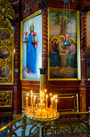 Segiyev Posad, Russia - August 30, 2012: View of the interior in Nadkladeznaya chapel at Holy Trinity St. Sergius Lavra.