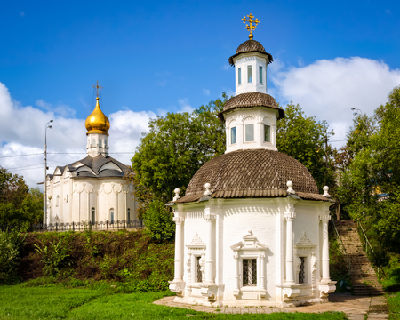 View of the chapel of the Pyatnitsky Church of the Holy Trinity. Sergius Lavra, Russia. Copy space in blue sky.