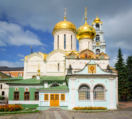 View from South to St. Nicholas Church and Trinity cathedral at Holy Trinity St. Sergius Lavra, Russia.