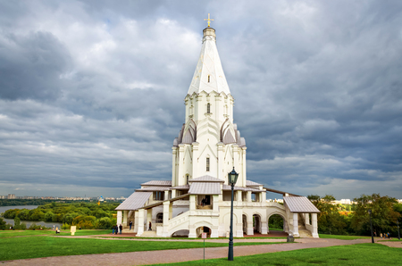 Kolomenskoye, Moscow, Russia - August 31, 2012: Exceptional Ascension church built in 1532 in white stone to commemorate the long-awaited birth of an heir to the throne, the future Ivan the Terrible. Unidentified people present on picture.