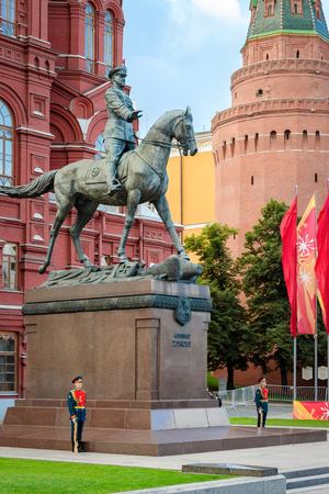 Moscow, Russia - August 31, 2012: Monument to Marshal Zhukov on Manezhnaya square outside Red Square and the Kremlin. Editorial