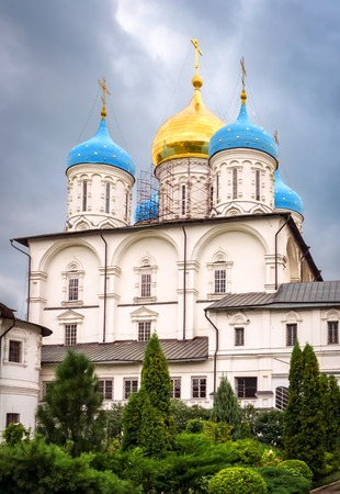 Moscow, Russia - August 30, 2012: View of Transfiguration (Preobrazhensky) cathedral in Novospassky monastery. Editorial