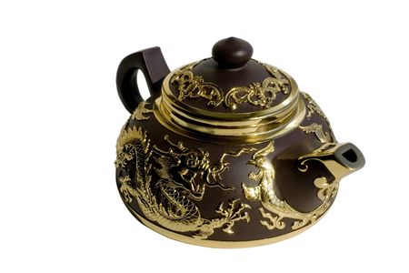Chinese ceramic teapot isolated over white Stock Photo