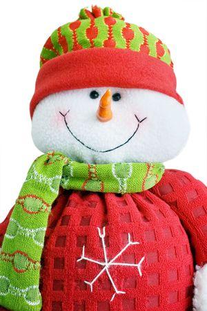 snowman toy in sportswear on white background Stock Photo