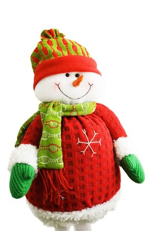 Soft-toy smiling snowman in sportswear isolated over white