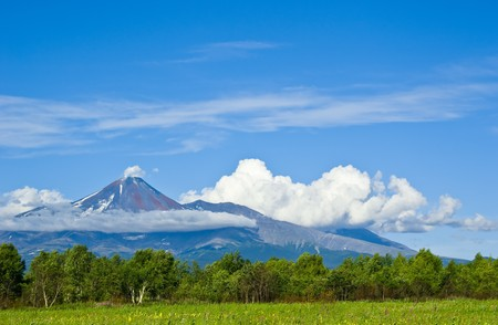 Business card of the Kamchatka Peninsula - the volcanic landscapes 版權商用圖片