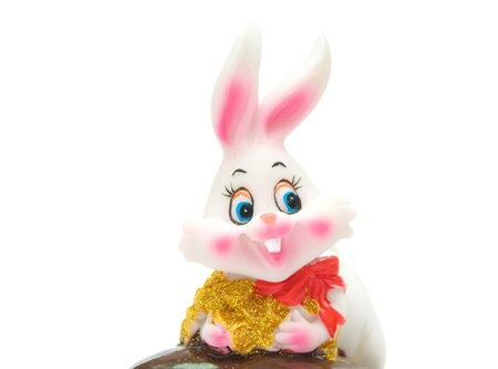 Jolly New Year Rabbit, isolated over white Stock Photo - 8603319