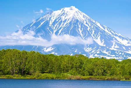 The peaceful picture of a sleeping volcano height of almost 3,500 m