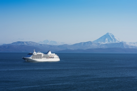Tourist ocean liner at anchor in the Avacha Bay, Kamchatka, Russia Stock Photo