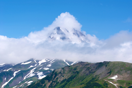 General view of the very ancient volcano, one of the most scenic hiking trails of the Kamchatka Peninsula
