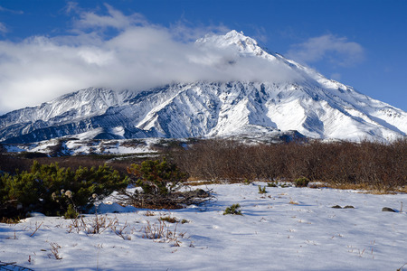 General view of the Koryaksky volcano, which is on the Kamchatka Peninsula in Russia
