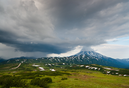 storm front has changed the weather in the area Vilyuchinsky volcano, Kamchatka Peninsula