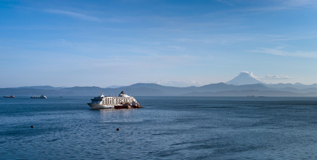 cruise ship at anchor in the Avacha Bay on the Kamchatka Peninsula